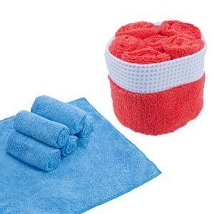 Set de 6 toallas de microfibra de 30 x 30 cm en rojo y azul