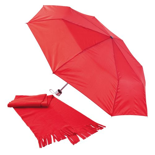 Set Paraguas Plegable y Bufanda