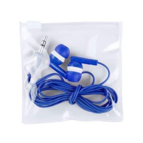 Auriculares económicos en bolsa de plástico.