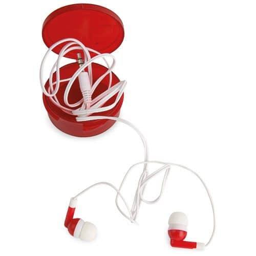Auriculares económicos en caja de plástico