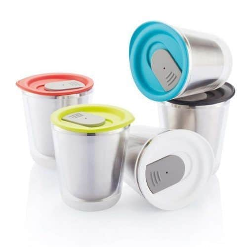 Merchandising regalo promocional taza con tapa.
