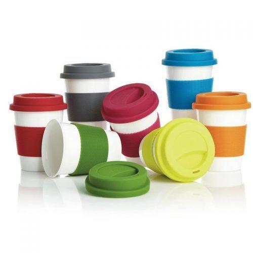 Merchandising regalo promocional taza con tapa y banda de silicona.