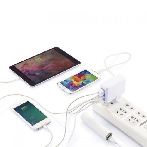 Enchufe de viaje con 4 puertos USB para merchandising regalo de empresa tecnología