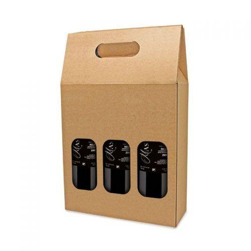 Caja Cartón 3 Botellas