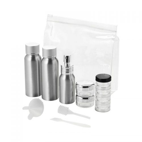 Neceser Transparente con tarros aluminio