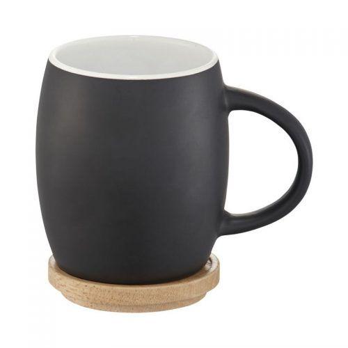 Taza de cerámica con base o tapa de madera
