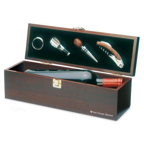 Set de vino en caja de madera