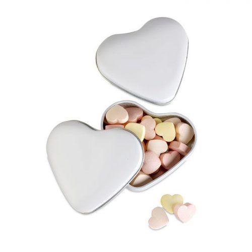 Caja corazón con caramelos