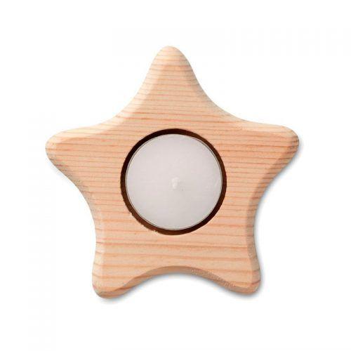 Portavelas de madera en forma de estrella