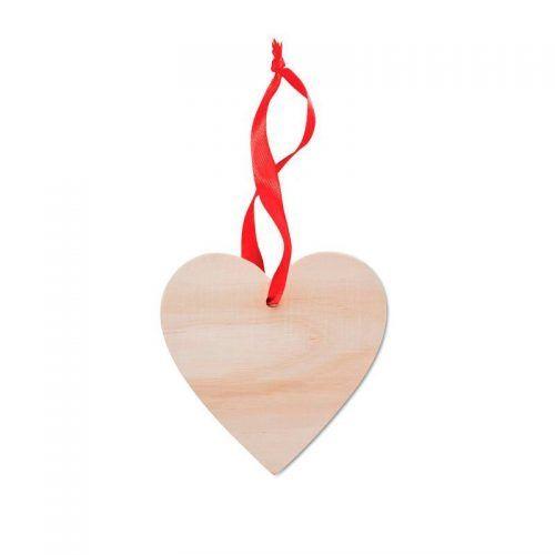 Colgante de madera en forma de corazón.