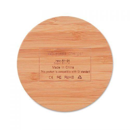 Cargador inalámbrico de bambú redondo.