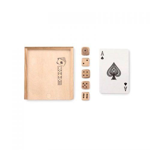 Set de cartas y dados en su caja