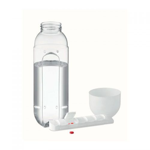 Botella con pastillero para merchandising