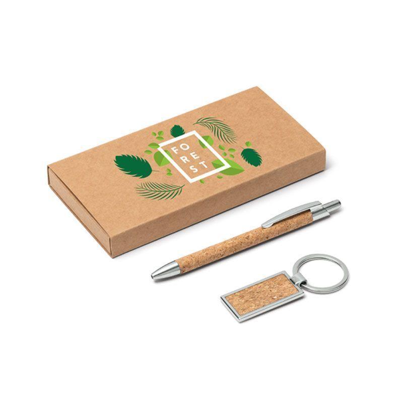 Set de bolígrafo y llavero eco