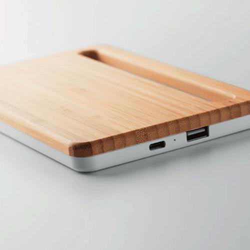 Cargador inalámbrico de bambú personalizado