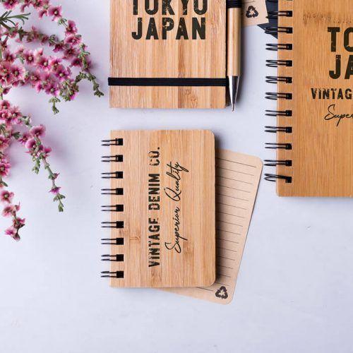 Libreta de bambú con tu logo