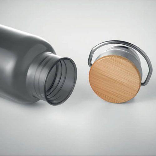 Botella personalizada con tapa bambú