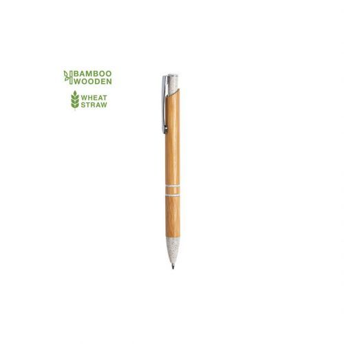 Bolígrafo automático con cuerpo de bambú y punta de caña de trigo