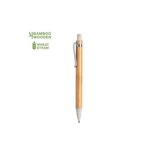 Bolígrafo automático en bambú con pulsador y punta en caña de trigo