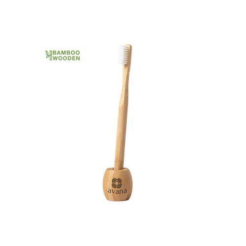 Cepillo de dientes de bambú con soporte