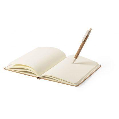 Set bolígrafo y libreta en corcho y caña de trigo