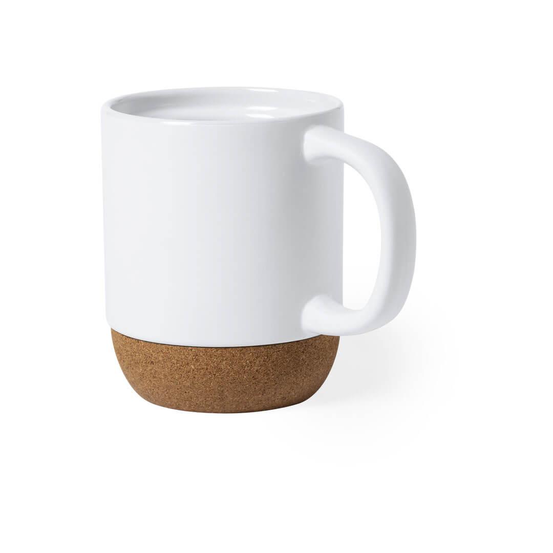 Taza de cerámica con base de corcho natural