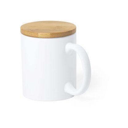 Taza de cerámica con tapa de bambú pulido