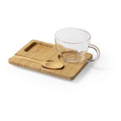 Taza promocional de cristal con bandeja y cuchara de bambú