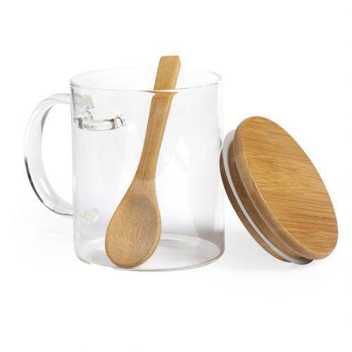 Taza promocional de cristal con tapa y cuchara de bambú