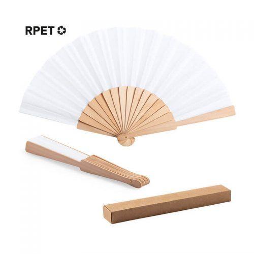 Abanico con varillas de madera y tela en RPET
