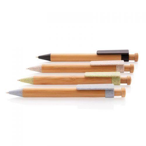 Bolígrafo Publicitario Bambú y Clip de Trigo