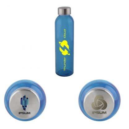 Botella de Cristal Azul Personalizable