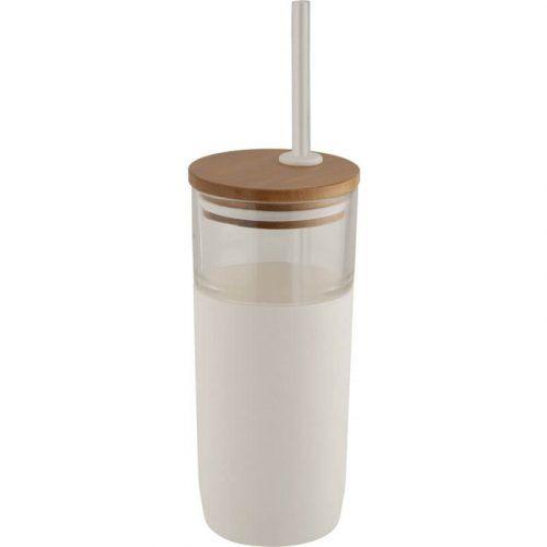 Vaso de Vidrio con Tapa de Bambú